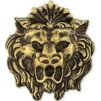 Antique Brass - No hole Charm - 24x27mm Lion's Head