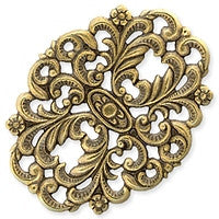 Antique Brass - Filigree - 35x46mm Floral Oval