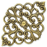Antique Brass - Filigree - 30x43mm Oval Floral