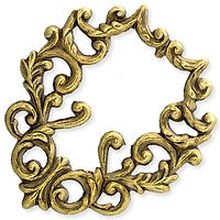 Antique Brass - Frame - 40x45mm Swirl Leaves