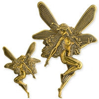 Antique Brass - No hole Charm - Fairy