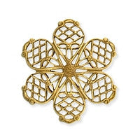 Antique Brass - Filigree - 26mm Dapped Small 6 Petals