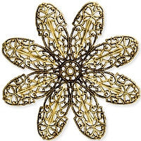 Antique Brass - Filigree - 70mm Large Dapped Flower