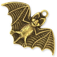 Antique Brass - Charm - 17x26mm Small Bat