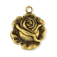 Antique Brass - Charm - 13x16mm Small Rose