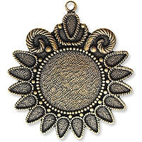 Antique Brass - Charm - 36x40mm Lg Deco Sunflower