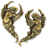 Antique Brass - No hole - 15x28mm Angel
