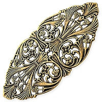 Antique Brass - Filigree - 43x90mm Large Oval
