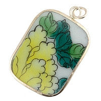 Chinesse Porcelain Pendants - 40x31mm Rectangle Lemon & Leaves