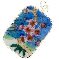 Chinesse Porcelain Pendants - 42x30mm Rectangle Flowers River