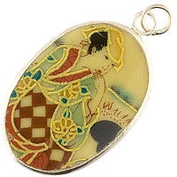 Chinesse Porcelain Pendants - 42x29mm Oval Left Geisha