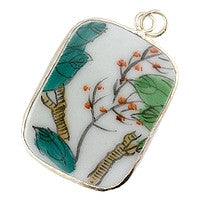 Chinesse Porcelain Pendants - 40x31mm Rectangle Wind Branch