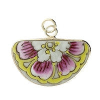 Chinesse Porcelain Pendants - 40x24mm Fan
