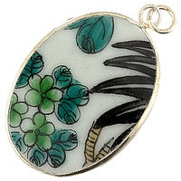 Chinesse Porcelain Pendants - 41x31mm Oval Palm & Green Flowers