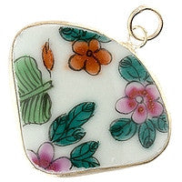 Chinesse Porcelain Pendants - 44x36mm Slice Floral