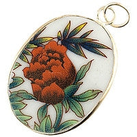 Chinesse Porcelain Pendants - 39x30mm Oval Rose & Green