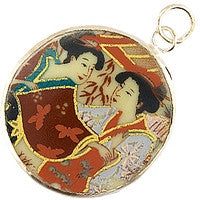 Chinesse Porcelain Pendants - 39mm Round Two Geishas