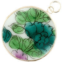 Chinesse Porcelain Pendants - 38mm Green Floral