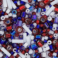 Japanese Seed Beads Mix - 18 Red/White/Blue