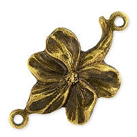Antique Brass - Connector - 12x20mm Flower Link