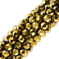 Chinesse Crystal - 4mm Round - Antique Gold 100pcs