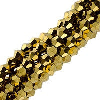 Chinesse Crystal - 4mm Bicones - Gold 100pcs