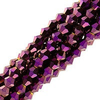Chinesse Crystal - 4mm Bicones - Metallic Cramberry 100pcs