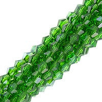 Chinesse Crystal - 4mm Bicones - Green Emerald Luster 100pcs