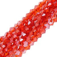 Chinesse Crystal - 4mm Bicones - Light Siam Luster 100pcs