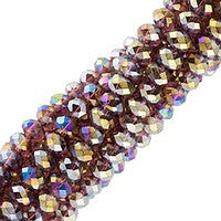 Chinesse Crystal - 3x4mm CHA Rondels - Dark Amethyst AB Luster 100pcs
