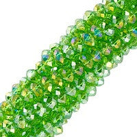 Chinesse Crystal - 4x6mm CHA Rondels - Dark Peridot AB Luster 65pcs