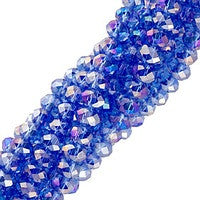 Chinesse Crystal - 3x4mm CHA Rondels - Sapphire AB Luster 100pcs
