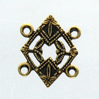 Antique Brass - Connector - 12x16m Filigree