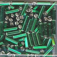 Japanese Bugle Beads Size 6-016A Silverlined Green