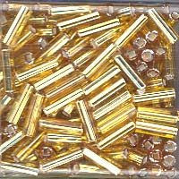Japanese Bugle Beads Size 6-004 Silverlined Gold - 30 Gram Tube