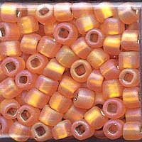 Japanese Seed Beads Size 6 -F637 Silverlined Matte Rainbow - Orange