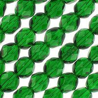 Czech Glass - 6mm Firepolish - Plain Colors - Emerald Green