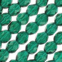 Czech Glass - 6mm Firepolish - Plain Colors - Emerald