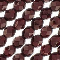 Czech Glass - 6mm Firepolish - Plain Colors - Garnet