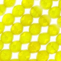 Czech Glass - 6mm Firepolish - Special Colors - Milky Yellow