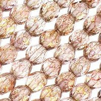 Czech Glass - 6mm Firepolish - Special Colors - Luster Transparent Topaz Pink