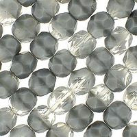 Czech Glass - 6mm Firepolish - Special Colors - Crystal Grey