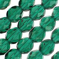 Czech Glass - 8mm Firepolish - Plain Colors - Emerald