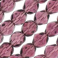 Czech Glass - 8mm Firepolish - Plain Colors - Amethyst