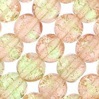 Czech Glass 6m Crackle - Green/Pink
