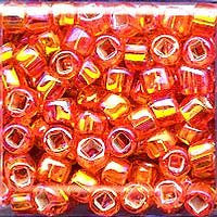 Japanese Seed Beads Size 6-637 - Silverlined Rainbow - Orange