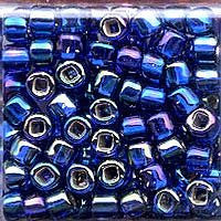 Japanese Seed Beads Size 6-641 - Silverlined Rainbow - Cobalt