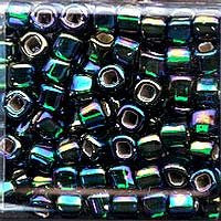 Japanese Seed Beads Size 6-647 - Silverlined Rainbow - Emerald