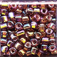Japanese Seed Beads Size 6-648 - Silverlined Rainbow - Rootbeer AB