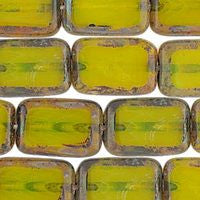 Czech Glass Rectangle - Milky Yellow